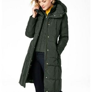NWT Cole Haan Box-Quilt Down Puffer Coat Green
